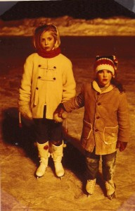 Here I am, on the left, skating, in about 1968, northern Minnesota.