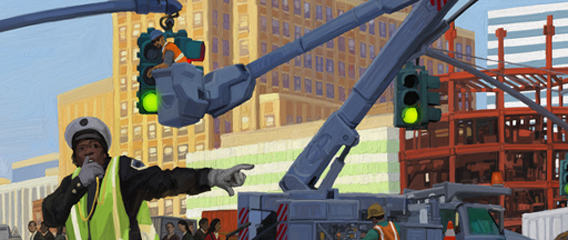 machines go to work in the city illustration william low