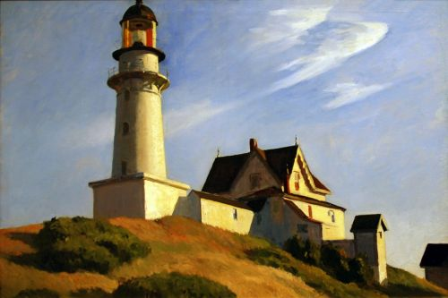 the lighthouse at two lights by edward hopper