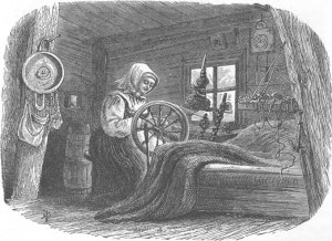 norway-girl-spinning-in-a-saeter from antiquaprintgallery dot com