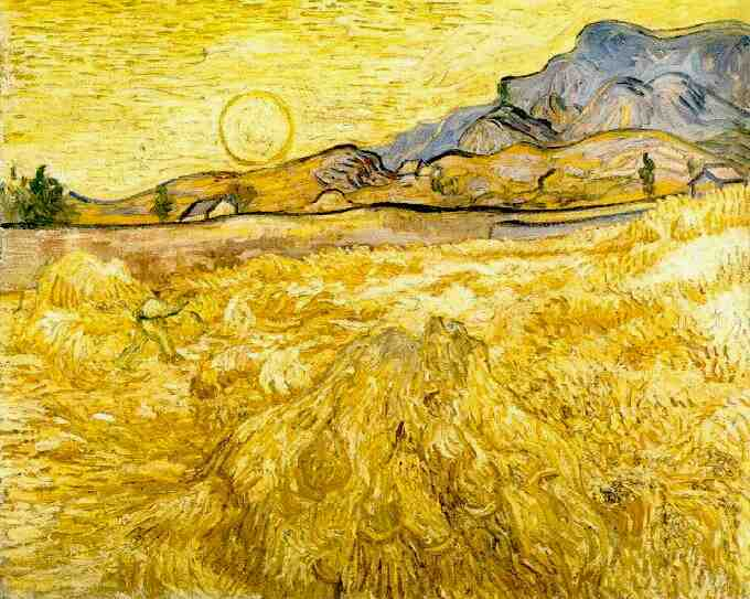 1889 Wheat Field with Reaper and Sun by van Gogh