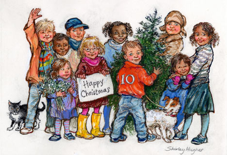 a christmas card from shirley hughes
