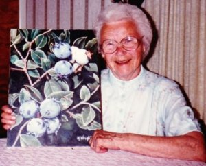 My grandma and her beloved blueberries!