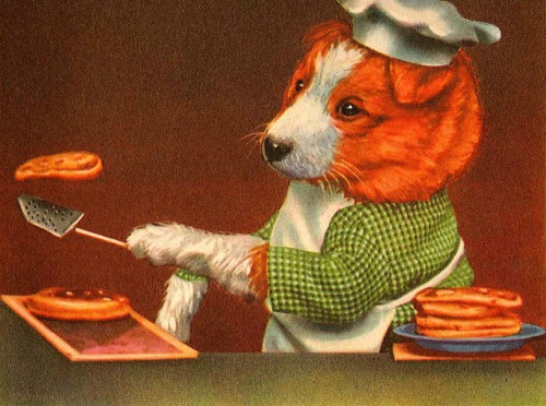 Puppy making pancakes from verymerryvintagestyle dot blogspot dot com