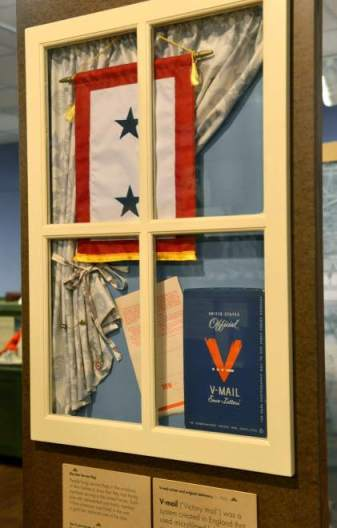 blue star flag in the window
