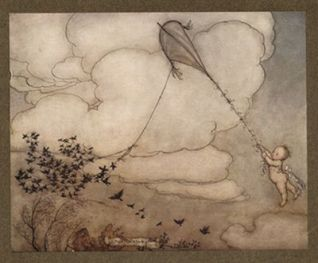 peter pan flying a kite by arthur rackham