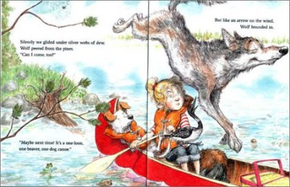 one-dog canoe illustration ard hoyt