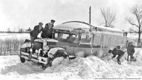 bus stuck in the snow