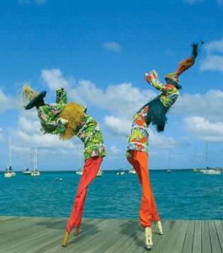 caribbean stilt walkers