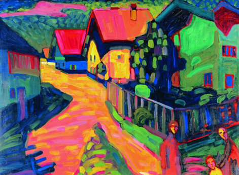 murnau street with women by kandinsky