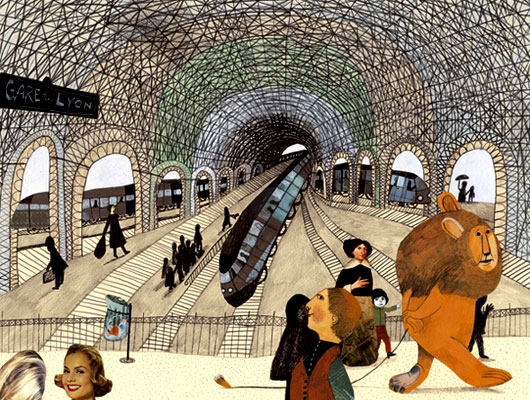a lion in paris illustration beatrice allemagna