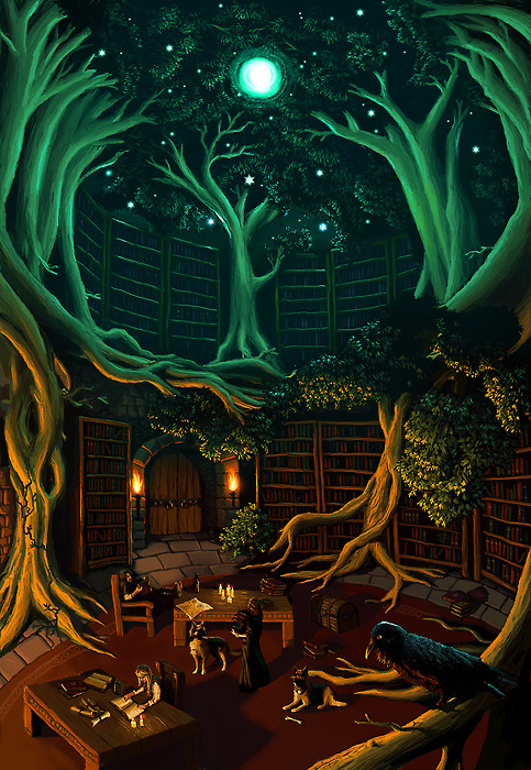 fantasy library from tumblr