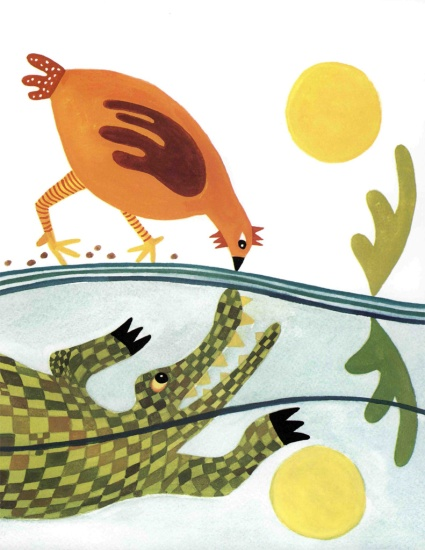 mrs. chicken and the hungry crocodile illustration julie paschkis