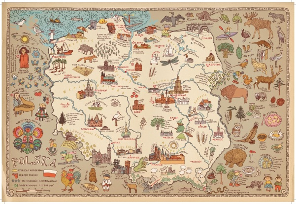 Here is the map of Poland, as found in the original work in Polish. Never fear -- it has all been translated!