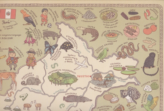 A detail of the map of Peru.