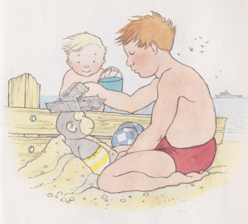 tom and pippo on the beach illustration helen oxenbury