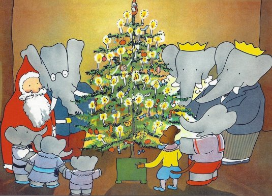 babar and father christmas illustration jean de brunhoff
