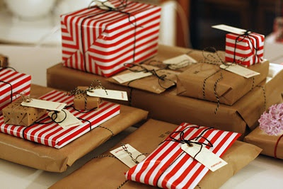 packages tied up with string