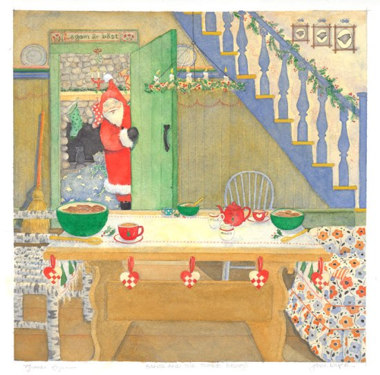 santa claus and the three bears illustration dyer