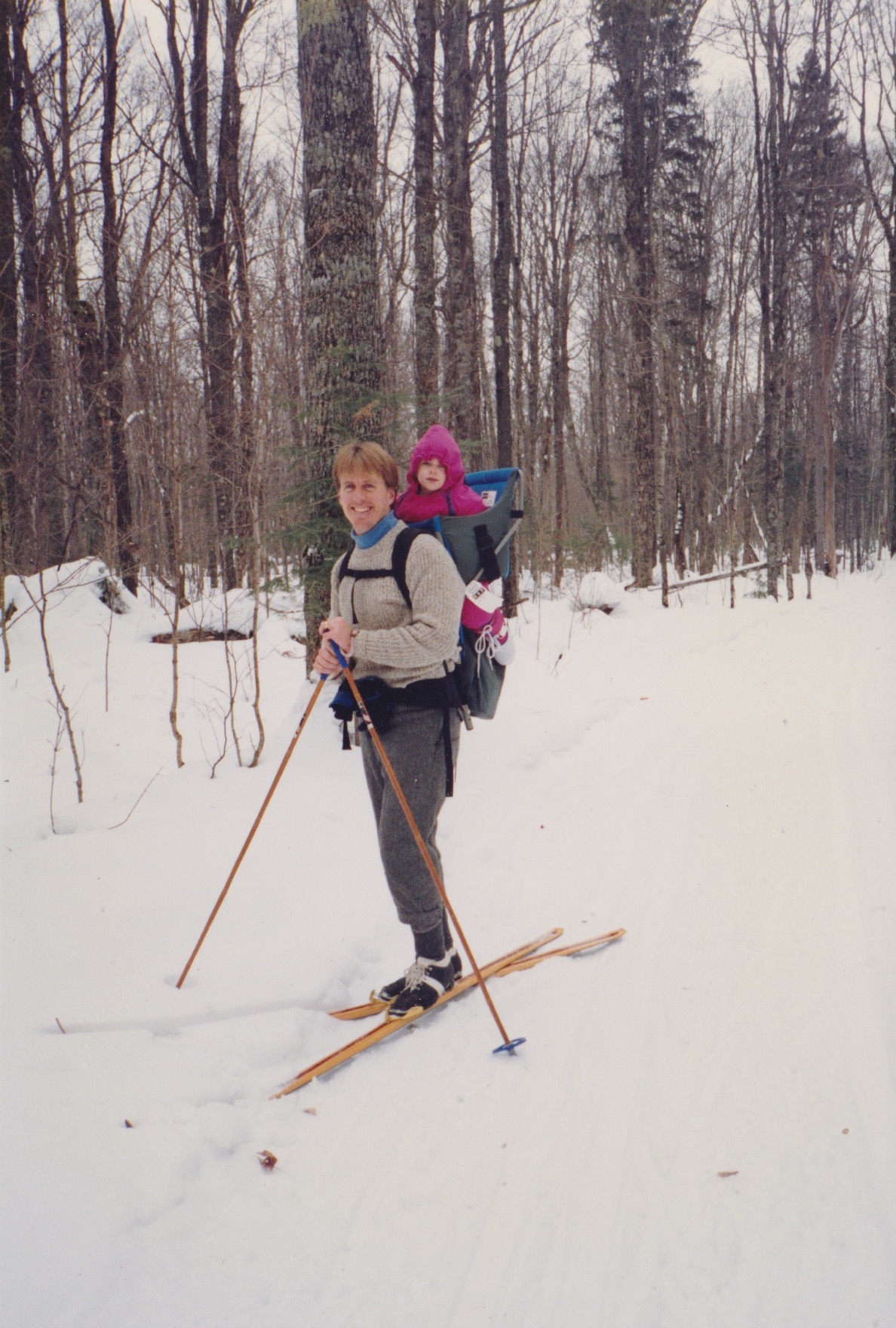 A blast from the past -- my husband and daughter-in-a-pack out for a ski.