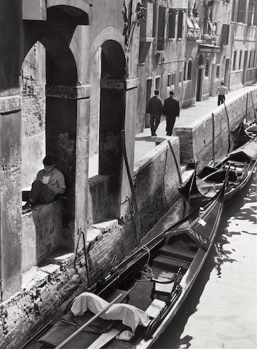 Venice (young man reading on canal side), September 10, 1963