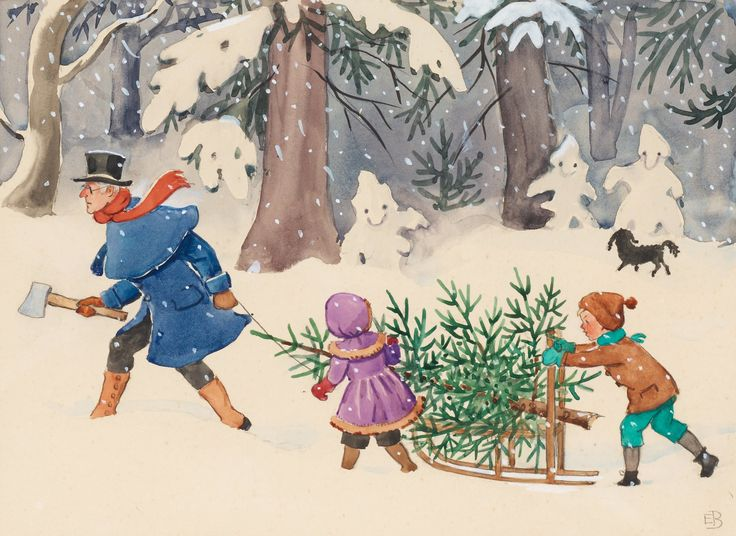 peter and lotta's christmas illustration beskow