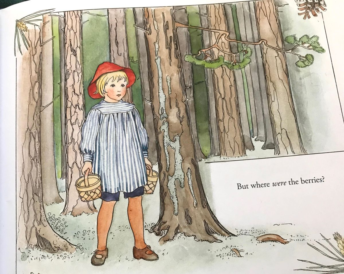 peter in blueberry land illustration by elsa beskow