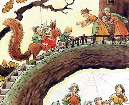 woody hazel and little pip illustration detail by elsa beskow