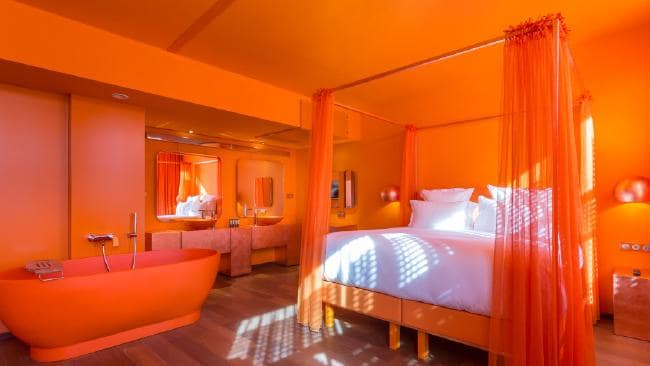 an orange room