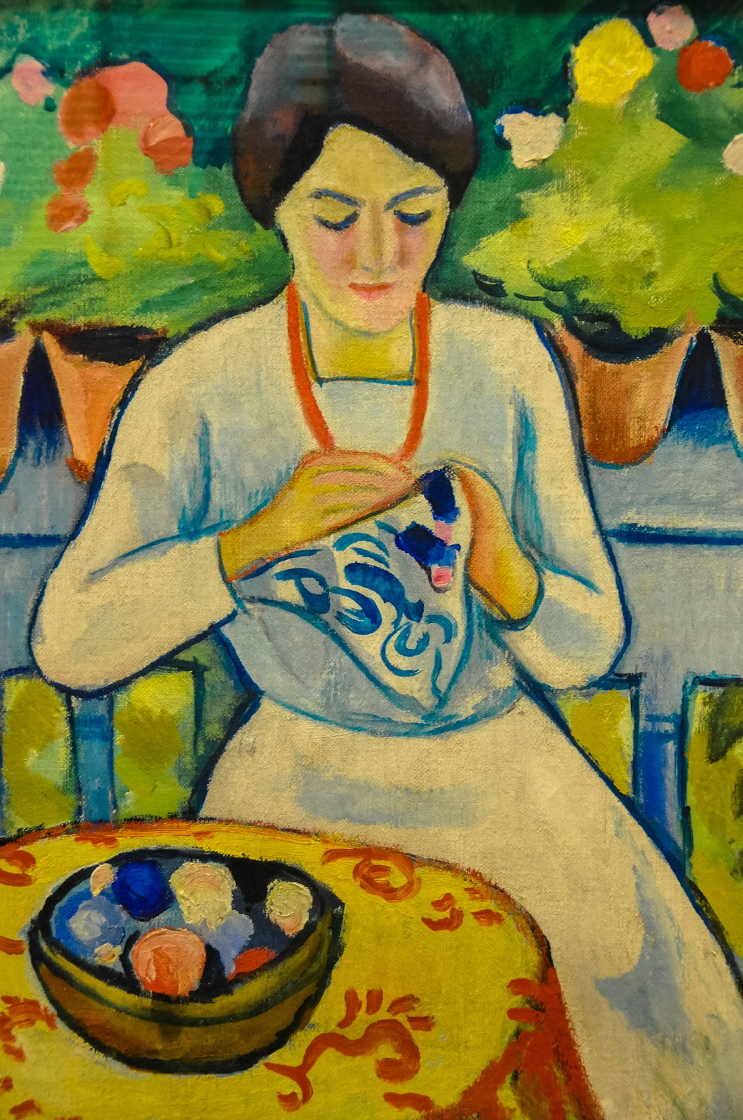 August Macke (German artist, 1887 - 1914) Woman Embroidering on Balcony, 1910