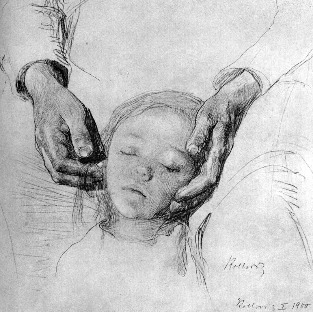 the child's head on its mother's arms by kollwitz