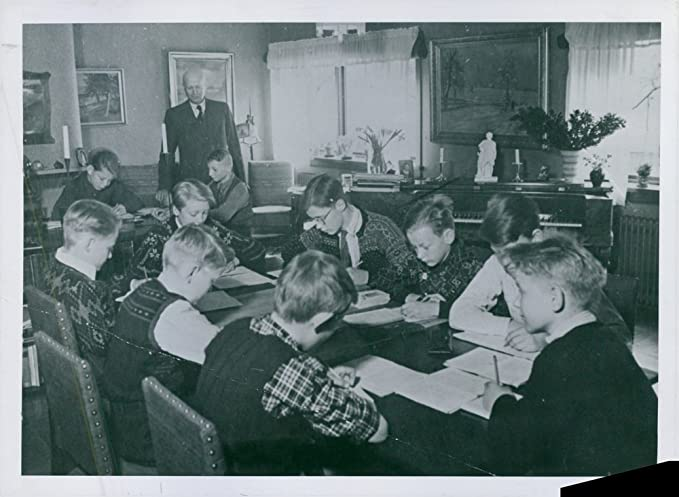 school at the table